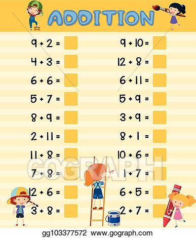 Vector with children . Addition clipart addition worksheet