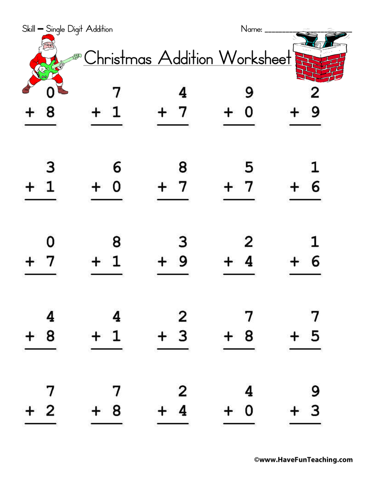 Addition clipart addition worksheet. Christmas single digit have