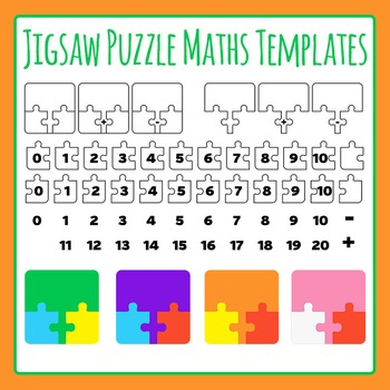 Puzzle clipart math puzzle. Jigsaw maths templates addition