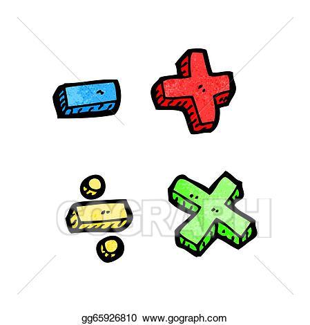 Vector cartoon symbols illustration. Addition clipart animated math
