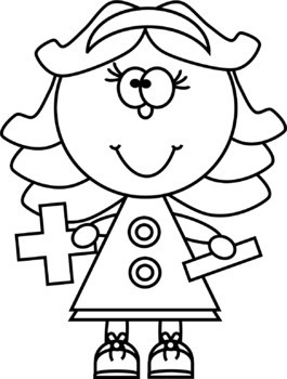 Addition clipart black and white. Kids with subtraction signs