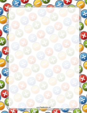 Colorful multiplication division and. Addition clipart border