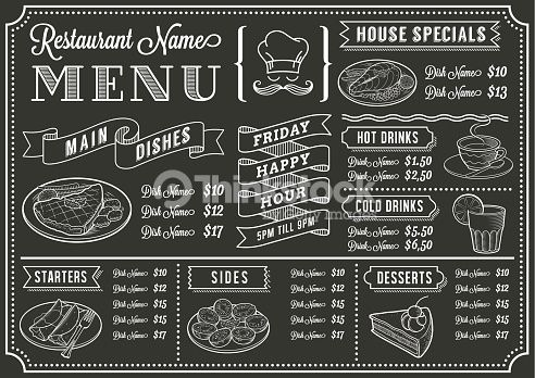 Addition clipart chalkboard. Vector art restaurant menu
