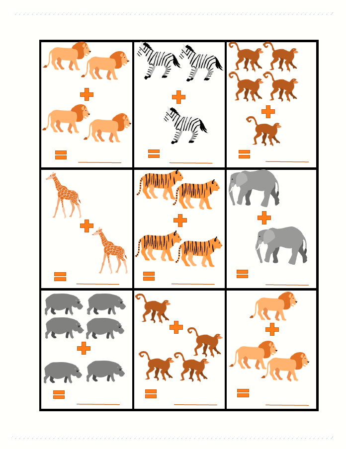 Addition clipart easy math. Safari animals cute clip