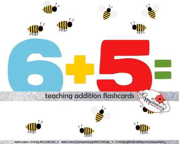 Teaching digital flashcards school. Addition clipart flashcard