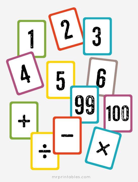 Addition clipart flashcard. Free printable math flash