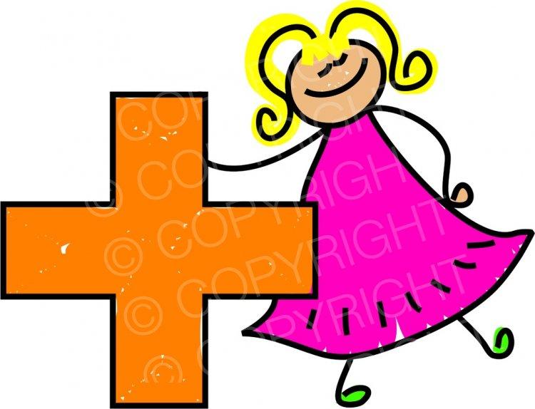Happy cartoon plus sign. Toddler clipart symbol