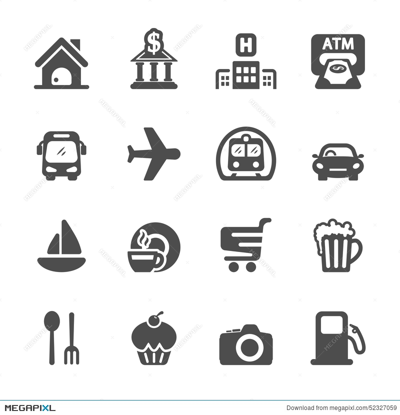 Travel map location set. Addition clipart icon