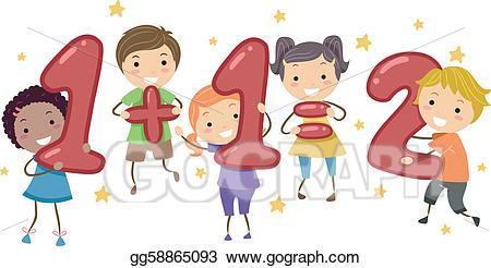 Addition clipart kid. Vector illustration kids eps