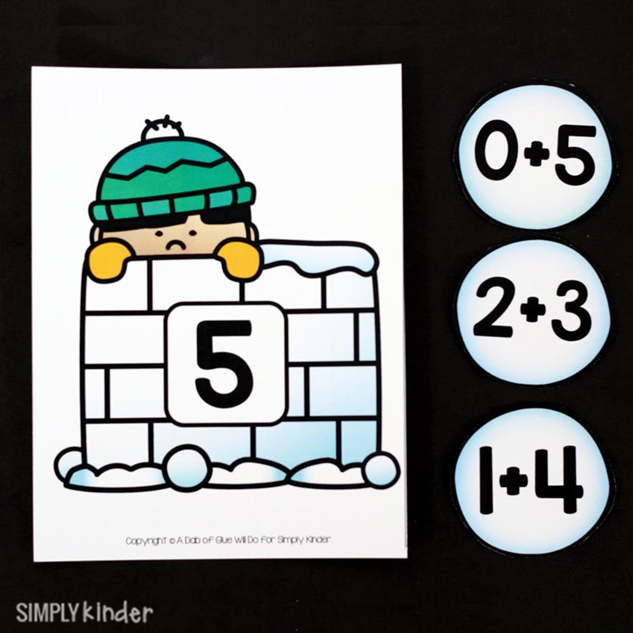 Snowball game simply kinder. Addition clipart kindergarten math