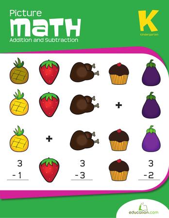 Addition clipart kindergarten math. Picture and subtraction workbook