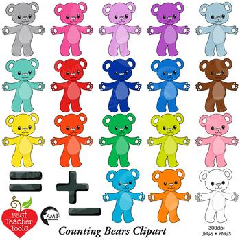 Counting bear clip art. Addition clipart math manipulative