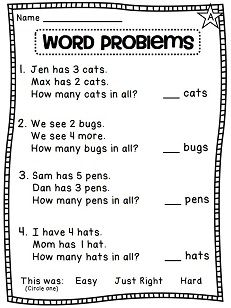 Addition clipart math word problem. Problems that are easy