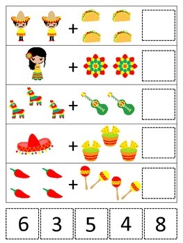 Addition clipart preschool math. Mexico themed learning game