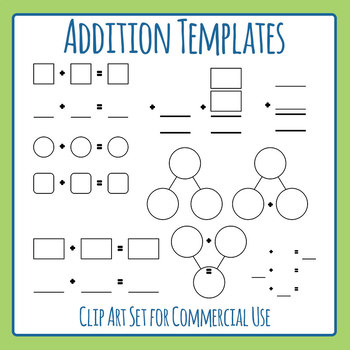 Templates for math blank. Addition clipart sum