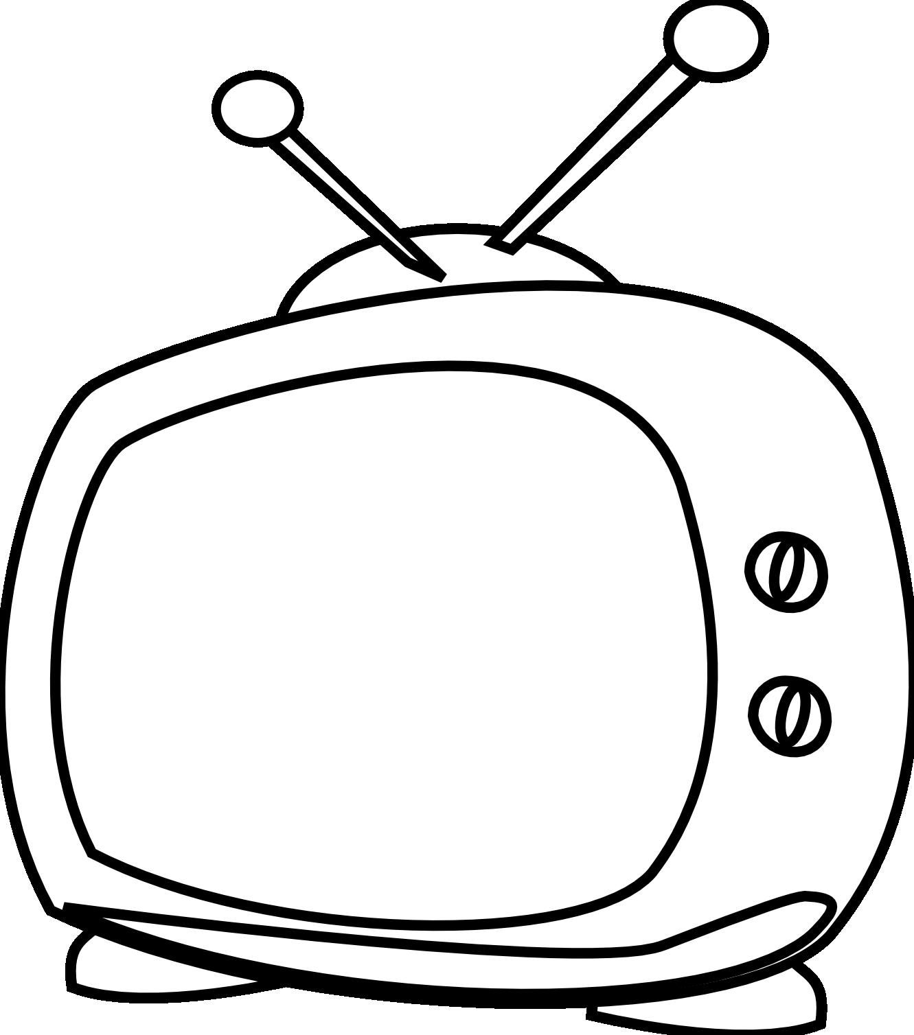 Television clipart watch movie. Cartoon tv black white