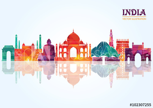 Adobe clipart building indian. India skyline detailed silhouette