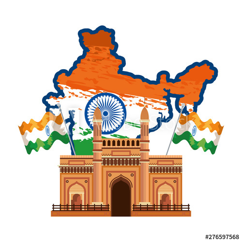 Map with flag and. Adobe clipart building indian