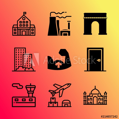 Adobe clipart building indian. Vector icon set about