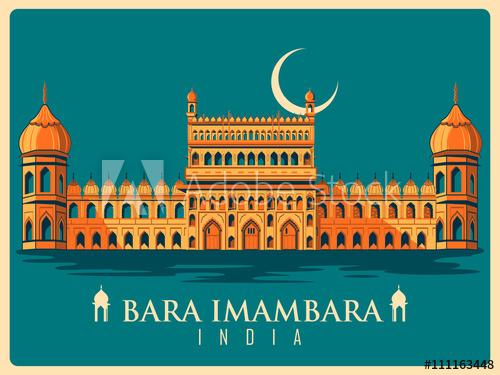 Vintage poster of bara. Adobe clipart building indian