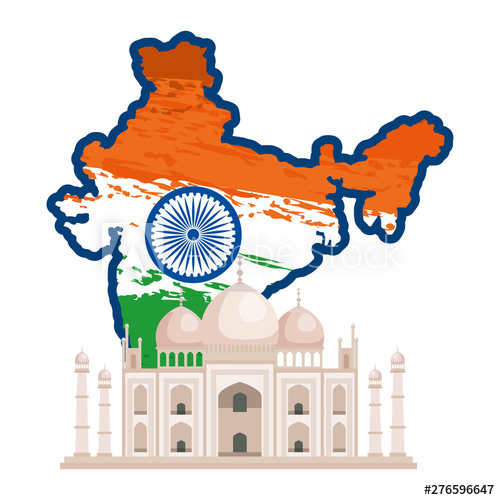 Adobe clipart building indian. Map with flag and