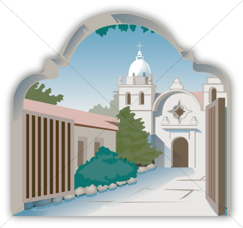 Adobe clipart church mission. Spanish courtyard
