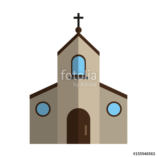 Cristian or catholic chapel. Adobe clipart church mission