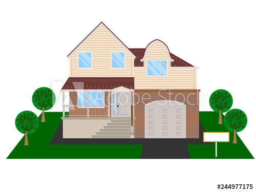 Modern house with attic. Adobe clipart dwelling