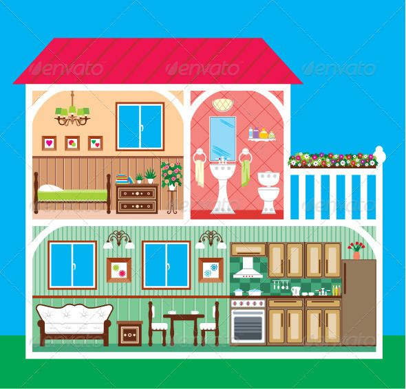 House in a cut. Adobe clipart dwelling