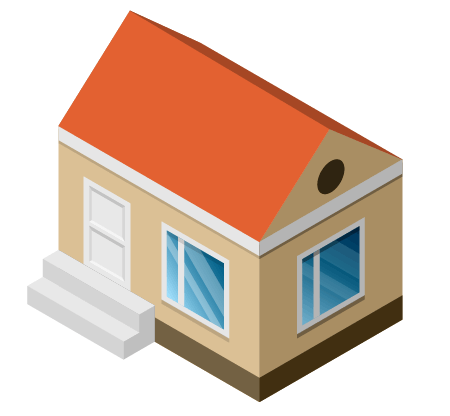Adobe clipart dwelling. Isometric icon with phantasm