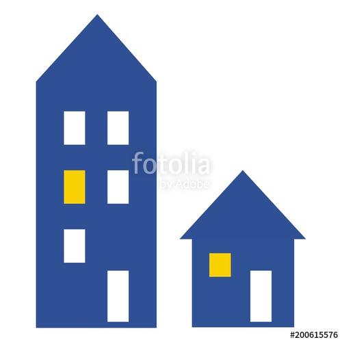 Adobe clipart dwelling. Big and little house