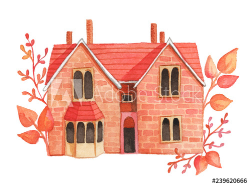 Adobe clipart dwelling. Watercolor house illustration with