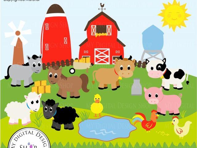 Old macdonald farm clip. Barn clipart farmyard