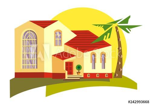 Spanish style home ideal. Adobe clipart hacienda