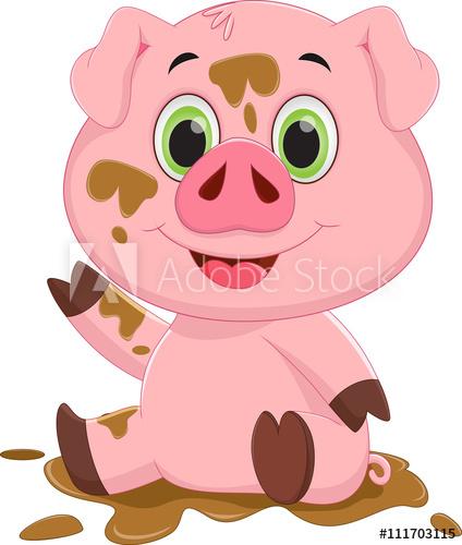 Adobe clipart mud house. Cartoon pig play in