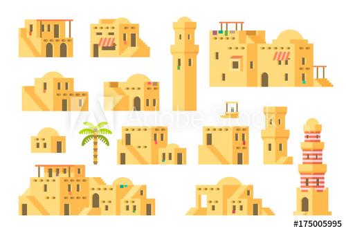 Flat design arab houses. Adobe clipart mud house