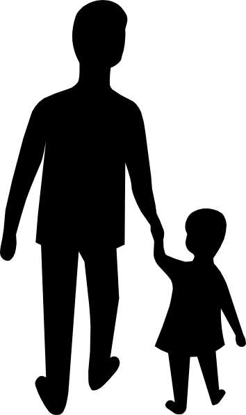 Parent dad hold child. Adult clipart
