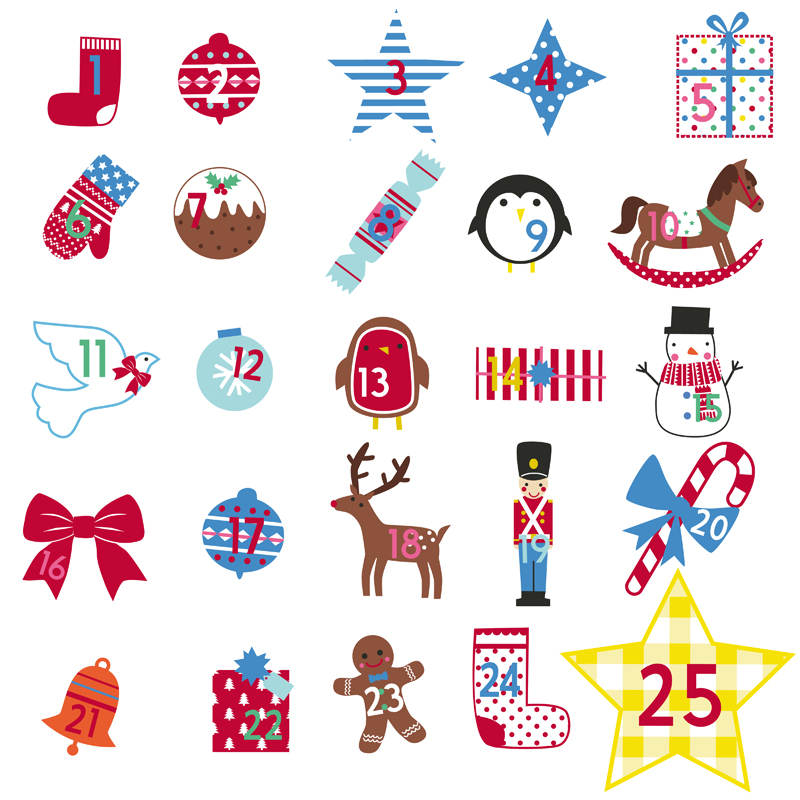 Personalised tree wall stickers. Advent clipart advent calendar