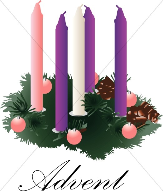 With unlit candles. Advent clipart advent wreath