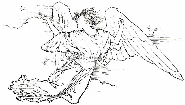 Black and white clip. Advent clipart angel