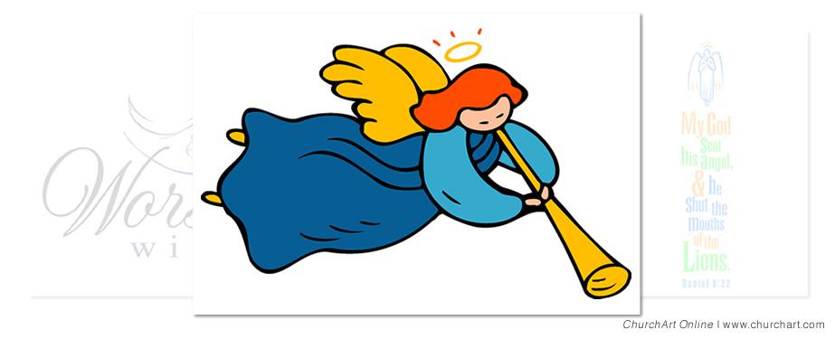 Announcement clipart horn. Angel clip art churchart