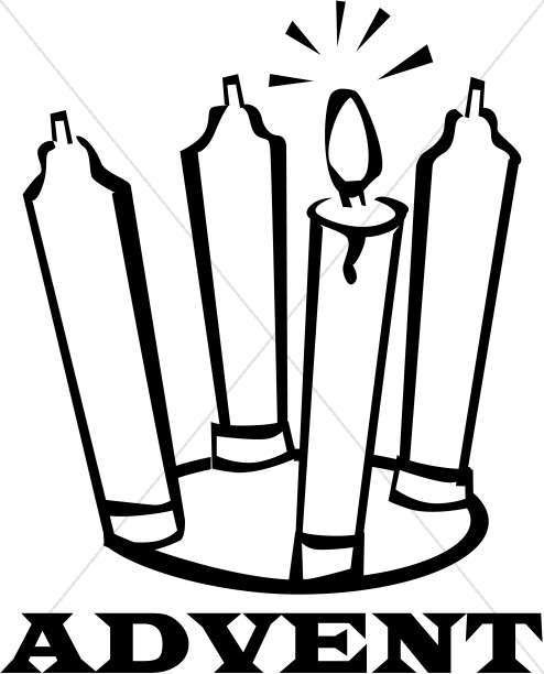 Candles clipart black and white. Advent christian christmas word