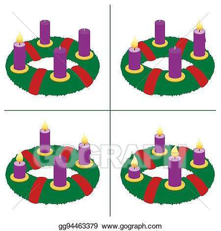 Advent clipart four candle. Vector illustration first sunday
