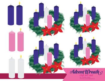 Advent clipart one candle lit. Wreath clip art set