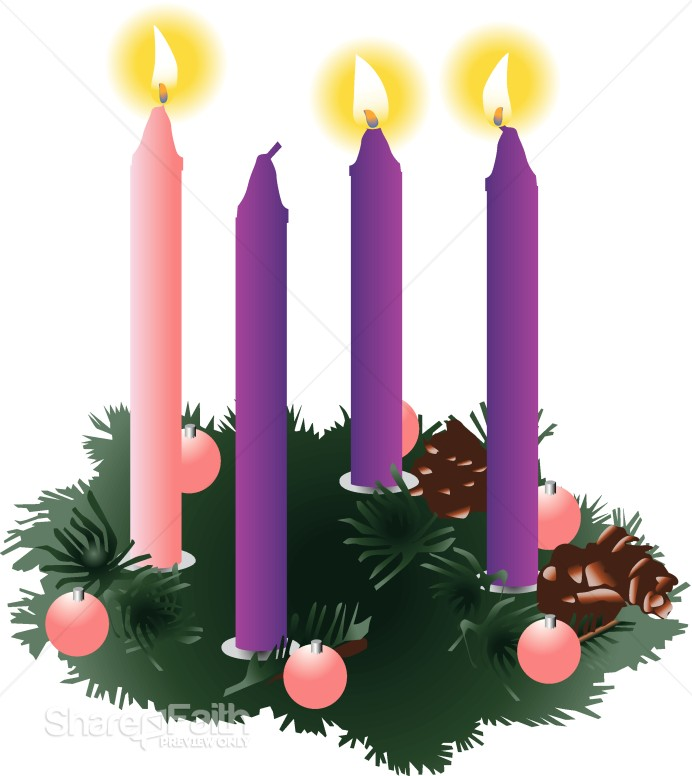 Wreath with unlit candles. Advent clipart peace