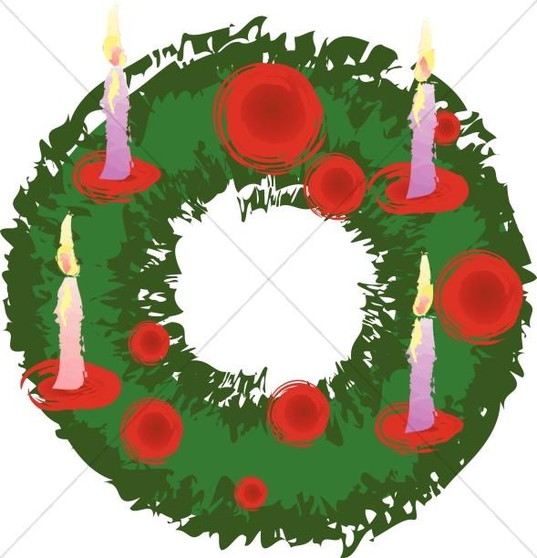 Wreath christmas. Advent clipart religious