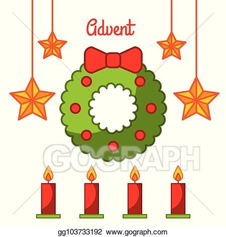 Advent clipart star. Vector wreath candles decoration