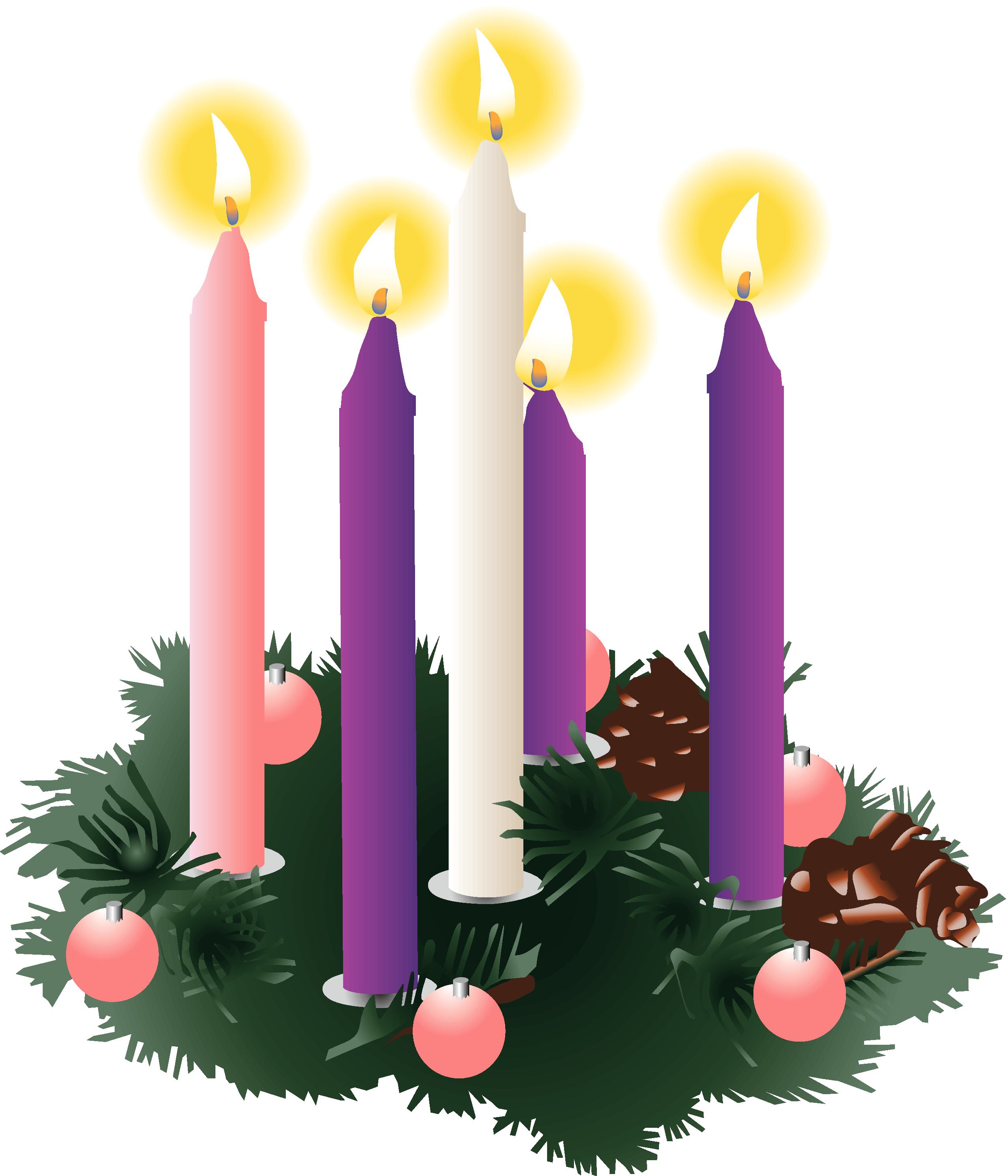 Five lit advent candles. Clipart candle baptism candle