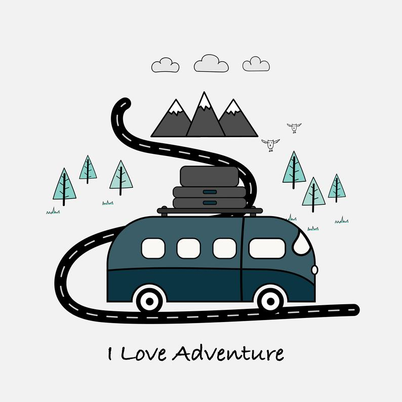 Adventure clipart. Background van mountain camping