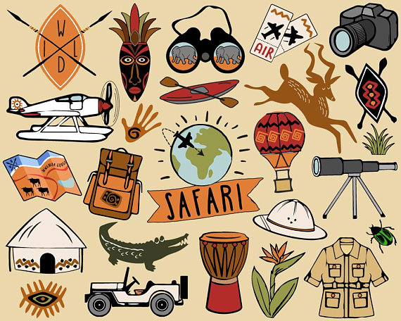 Safari travel clip art. African clipart tribal